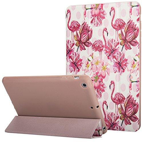 Schutzhülle für iPad Mini, Mini 2Hülle, Mini 3Fall, dteck Ultra Dünn PU Leder Flip Kickstand Smart Case Schutzhülle für iPad Mini 1/2/3Apple 20,1cm IOS Tablet, A_Flamingo & Pink Flower Ipad Flip Case