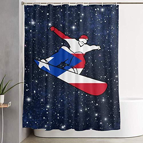 ANTOUZHE DuschvorhangDuschvorhängePuerto Rico Flag Snowboard Shower Curtain with Hooks 60 X 72 Inches for Decorative Bathroom Curtains Decoration Creative Home Ideas