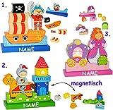 alles-meine.de GmbH magnetische Holz Klötze & Bausteine mit Magneten -  Ritter & Ritterburg  - incl. Name - Motorikspielzeug - Steckspiel magnetisch - Stapelturm / Spiel zum St..