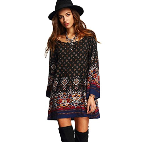 Kleid Damen Elegant Langarm Kleid Vintage Mode Rock Boho Strandkleid Damen Lange T-Shirt Minikleid...
