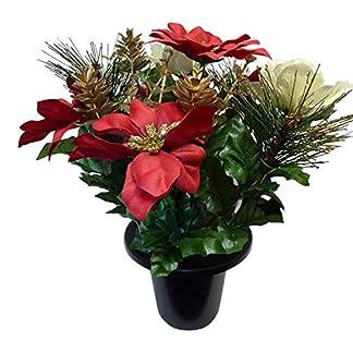 Rojo y oro Navidad Pascua Holly Artificial flores de seda arreglo memorial tumba maceta Planta