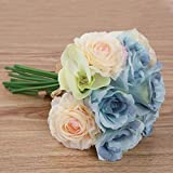 Bumen kunstblumen 1 Pack 12 Stück Seidenrosen tischdeko Hochzeit deko hochzeitsspiele deko Ideen kunstblumen Hochzeitsblumenstrauß Blumenschmuck Rose Versand - 3