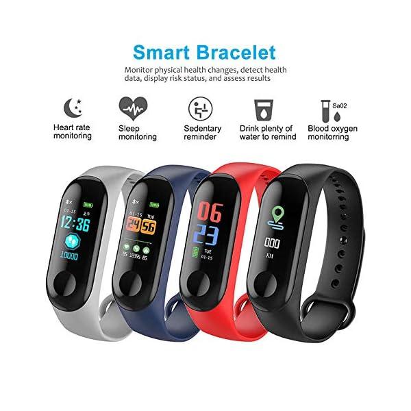 Rastreador de Ejercicios, Smart Bluetooth Sport Waterproof Rastreador de Ejercicios Reloj Inteligente con Ritmo cardíaco Presión Arterial Podómetro Monitor de sueño Calorías Contador de Pasos 3