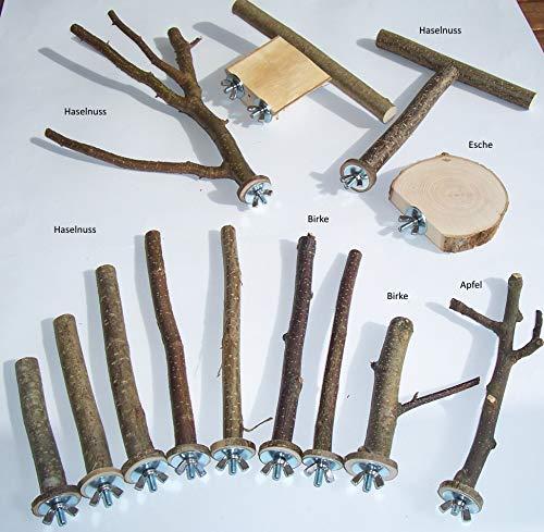 BuyAndBeHappy70 Sitzstangen Sitzbretter Anflugstange für Vögel Wellensittiche Kanarien usw. Set 13-teilig Naturholz