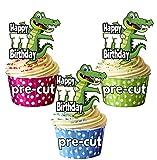 vorgeschnittenen Cartoon Krokodil–77th Geburtstag–Essbare Cupcake Topper/Kuchen Dekorationen (12Stück)