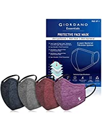 Giordano Sports Dri-fit Anti Pollution 6 Layer Reusable Outdoor Face Mask (Navy, Grey, Burgundy, Purple)- Pack of 4