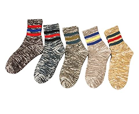 Santwo 5 Pack Herren Warm Wolle Blend Gestrickte Soft Comfort Crew Socken