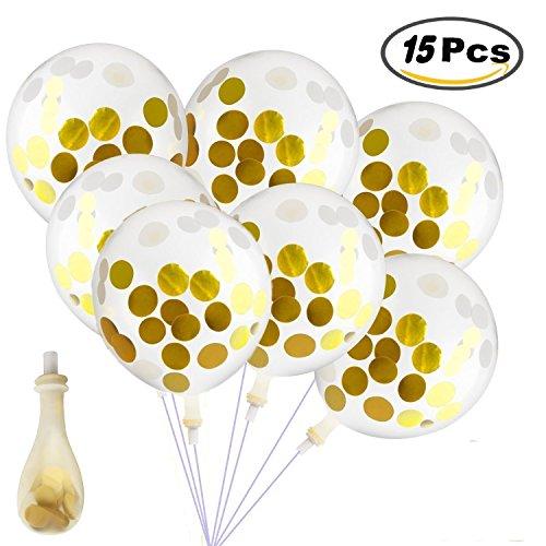 Joykey 15 Stück Gold Konfetti Luftballons 30cm crème Party Ballons Mit Confetti Papier für Hochzeit, Geburtstag, Zuhause Party Dekoration, Latex Creme-gold