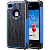 ULAK iPhone 4 case / iPhone 4S Carcasa Funda Cases caso Anti Golpes Hñbrida de Silicona Protectora para Apple iPhone 4 4s (Azul)