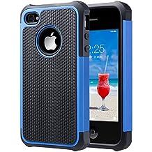 ULAK iPhone 4 case / iPhone 4S Carcasa Funda Cases caso Anti Golpes Hñbrida de Silicona Protectora para Apple iPhone 4 4s (Azul)