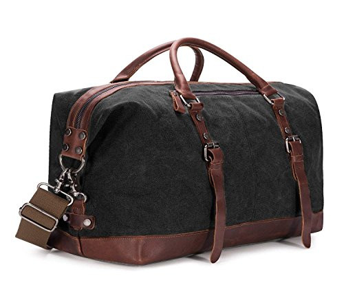 Large Capacity Canvas Weekender Bag, Portable Travel Shoulder Bag,Unisex Travel Holdall Handbag with PU Leather Decoration,Crossbody Satchel,Business Bags