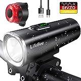 LIFEBEE LED Fahrradlicht Set, StVZO Zugelassen USB Fahrradbeleuchtung Fahrradlampe Frontlicht/Rücklicht, IPX5 Wasserdicht 2600mAh Samsung Li-ion Licht für Fahrrad