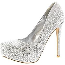 Mujer Stiletto Diamante Party Noche Alto Heel Plataformas Zapatos De La Cortes - Plata - UK6/EU39 - KL0115