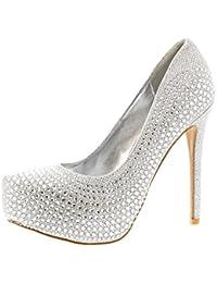 Mujer Tacón Zapatos Plateado Para Awyabydqc De Amazon Es CUqBO1aw
