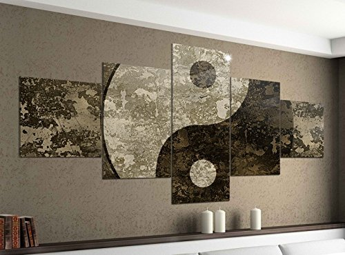 Leinwandbild 5 tlg. 200cmx100cm Yin & Yang Symbol Feng Shui Zen Bilder Druck auf Leinwand Bild Kunstdruck mehrteilig Holz 9YA588, 5Tlg 200x100cm:5Tlg 200x100cm