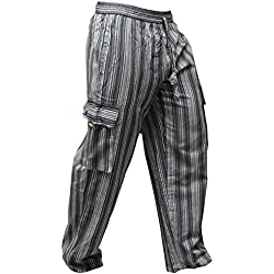 SHOPOHOLIC FASHION - Pantalones hippies de pierna ancha unisex, bolsillos laterales, diseño rayas multicolor multicolor Black mix XL