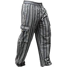 Shopoholic Moda Unisex Multicolor Rayas Wideleg Sidepocket Hippy Pantalón
