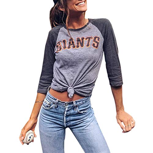 Giants Letters Bedruckte Raglan-T-Shirts Damen 3/4 Ärmel Oansatz Baseball T-Shirt ~ (Color : Gray, Size : S) -