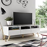Lavello Wood - TV Bank / TV Schrank (150 cm, Weiß Matt, Holzfüße, LED )