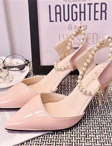 WSS 2016 Chaussures Femme-Habillé-Rose / Blanc / Beige-Talon Aiguille-Talons-Talons-Similicuir beige-us7.5 / eu38 / uk5.5 / cn38