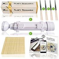 Xcellence Sushi Komplett Set - Maki Starterset mit Sushi Bazooka, Bambusmatte, 4 Paar Stäbchen und 30 kostenlosen Rezepten (10-teilig)