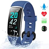 KUNGIX Orologio Fitness Tracker Uomo Donna Smartwatch Android iOS Cardiofrequenzimetro da Polso Fitness Activity Tracker Smart Watch 0,96 Pollice Schermo a Colori Impermeabile IP68 (Blu)
