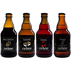 CEREX- Pack Degustación de 4 Botellas de Cerveza Artesana Gourmet de 33 cl. MEJOR CERVEZA ARTESANA DE ESPAÑA 2015