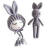 Yeahibaby neonato fotografia foto Prop crochet a maglia giocattolo coniglio cappelli per bambini (grigio) Grey 25 x 8 x 8 cm