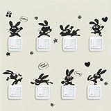 Interruttore adesivo, 1 set / 8pcs carino coniglio/gatto creativo interruttore della luce decalcomanie adesivi murali camera da letto del computer portatile (coniglio)