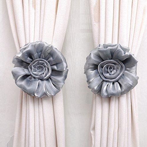 SIMPVALE 1 par rosas de cortina alzapaños hebilla Alicate gancho fijación accesorios para cortinas, poliéster, gris, medium