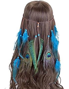 Vintage Headwear Headband indio de la pluma - AWAYTR Boho Hippie Beads Masquerade Disfraz Accesorios para el cabello...