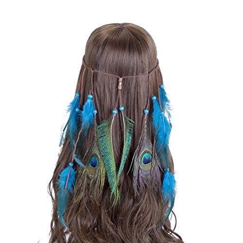Vintage Headwear Headband indio de la pluma - AWAYTR Boho Hippie Beads Masquerade Disfraz Accesorios para el cabello para mujeres niñas