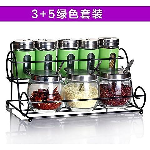 Cucina condimento di vetro pacco di bottiglie in acciaio inox salsa barbecue serbatoi sono serbatoio sigillato 8 bottiglie di salsa al pepe Kit cartuccia , Kit verde