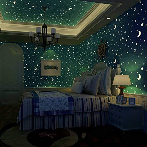 ACYKM 3D Mural Luminaria no tejida de estrellas y la luna. Decoración de lámparas fluorescentes de techo para dormitorios de niños y niñas. 300 * 210cm