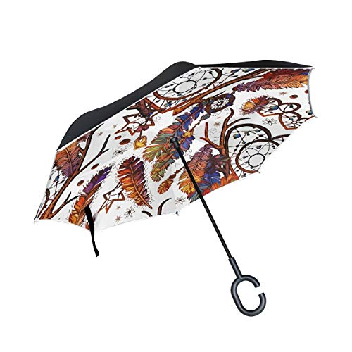 HYJDZKJY Paraguas invertido de Doble Capa Coches Paraguas inverso Atrapasueños Plumas étnicas Tribales A Prueba de Viento A Prueba de Rayos UV Paraguas Exterior