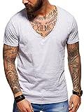 Behype Herren Kurzarm Basic T-Shirt Deep V-Neck 20-0005 Hellgrau XL