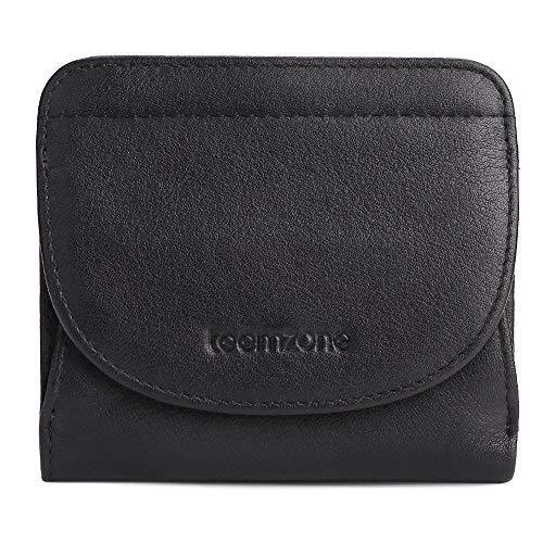 lein RFID Schutz mit Münzfach Mini Geldbörse Frauen Portmonee Brieftasche Echtes Leder TEEMZONE(Schwarz) ()