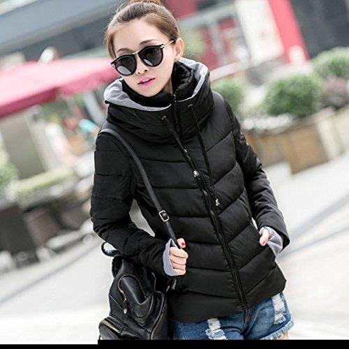 WTUS Femme Veste Chaude Dhiver Slim Col épais En Coton Outwear Noir