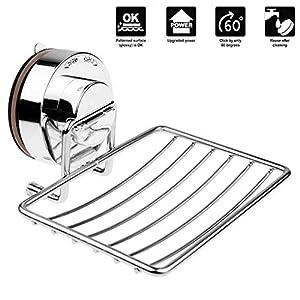 HJZ Jabonera de Pared con Ventosa jaboneras de baño Acero inoxidable Cromado para ducha en cocina Estantería Baño