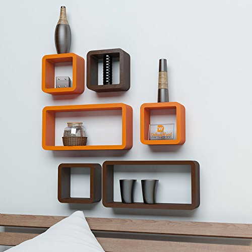 Driftingwood Wall Rack Shelves Set of 6 Cube & Rectangle Shelves Storage Wall Shelf - Orange & Brown