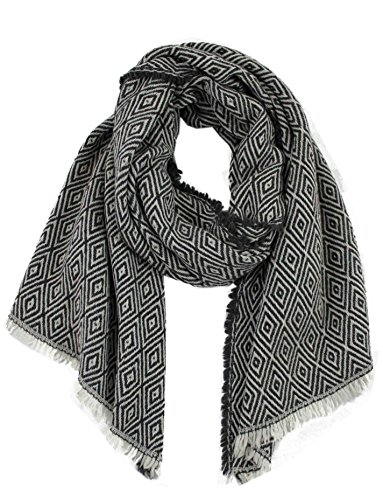 Preisvergleich Produktbild Rotfuchs® Schal Webschal Jacquard modisch braun beige 100% Wolle (Merino)R-644