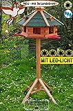 PREMIUM Vogelhaus mit Landebahn + LED - Beleuchtung/Licht und Bitumen, Ma