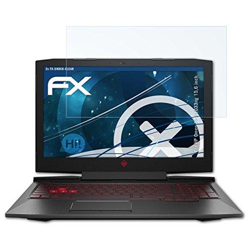 atFolix Schutzfolie kompatibel mit HP Omen 15-ce033ng 15,6 inch Panzerfolie, ultraklare & stoßdämpfende FX Folie (2X)