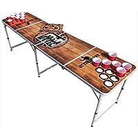 BeerBaller-PREMIUM-Beer-Pong-Tisch-Hochwertiges-Holzdesign-wasserabweisend-Integriertes-Khlfach-Lcher-fr-Becherstabilitt-und-Bllehalter-Inkl-6-Blle-GRATIS