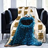 "fghgfdhjj Mantas para Cama Monsters Who Love Cookies Ultra-Soft Micro Fleece Blanket Anti-Pilling Flannel Sleep Comfort Super Soft Sofa Blanket Print Black 80""x60"" Plush Bed Couch Living Room"