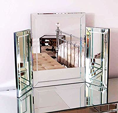 Modern Clear Venetian Dressing Table Mirror Stylish Corners Tri-Fold Triple Mirror Kelsey Store