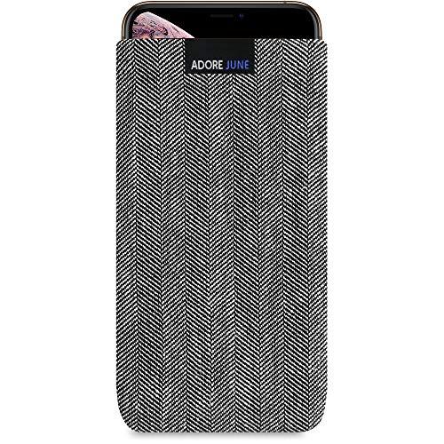 Adore June Business Tasche für Apple iPhone XS Max Handytasche aus charakteristischem Fischgrat Stoff - Grau/Schwarz | Schutztasche Zubehör mit Display Reinigungs-Effekt | Made in Europe