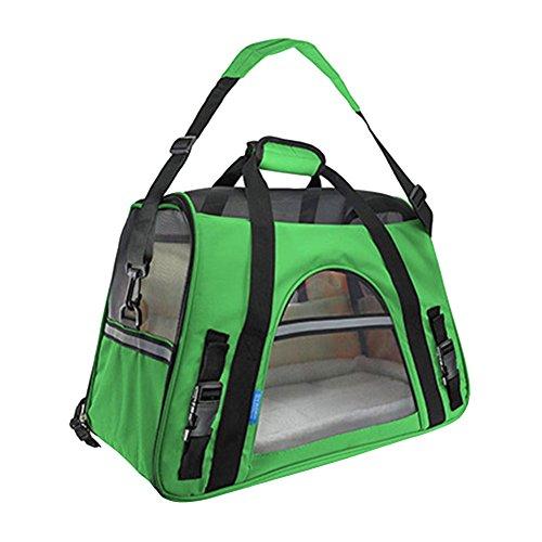 Faltbare Transportbox für Haustiere, Travel Weiche Seiten Tasche Haustier Träger für Hunde & Katzen Grün Large