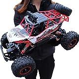2.4Ghz Voiture à Grande Vitesse de RC Voiture Télécommandée - 4WD,avec Cadeau de Surprise pour garçons - Étanche/Antichoc (Rouge) Voiture Électrique Rapide Véhicule Buggy Monstre