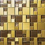 Mosaico de vidrio de acero inoxidable Azulejos de mosaico color mixto Art Deco acero inoxidable mosaico 300*300mm Cocina backsplash / ducha de pared de la pared de la pared / Hotel pasillo pared de la frontera / piso residencial de piso y aplicaciones de la pared SA168-4 (11 pieza/㎡)